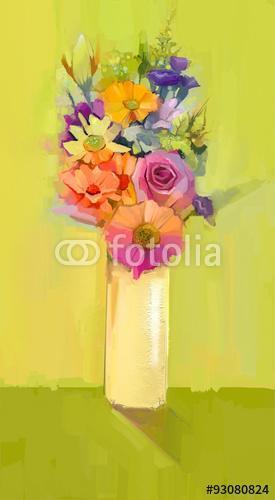 A fehér, a sárga és a vörös színű virágok csendéletei , Premium Kollekció