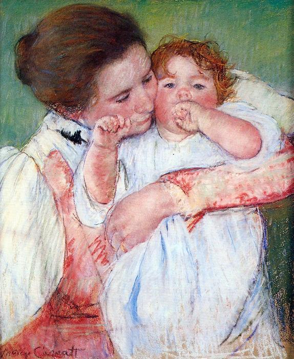 Gyermekét ölelő fiatal anya, Mary Cassatt