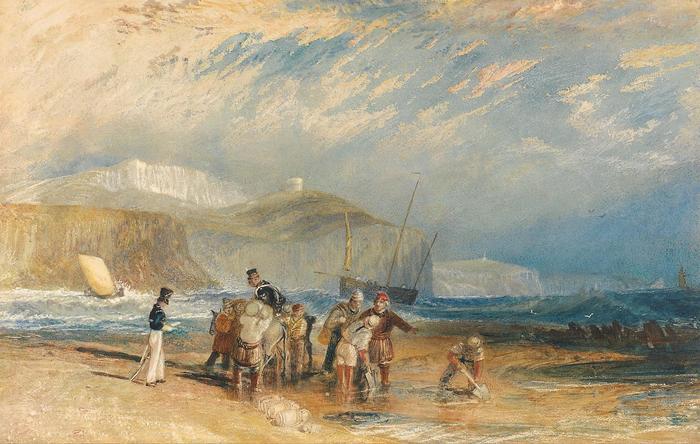 Folkestone kikötéje és a Doveri fehér sziklák (színverzió 1), William Turner