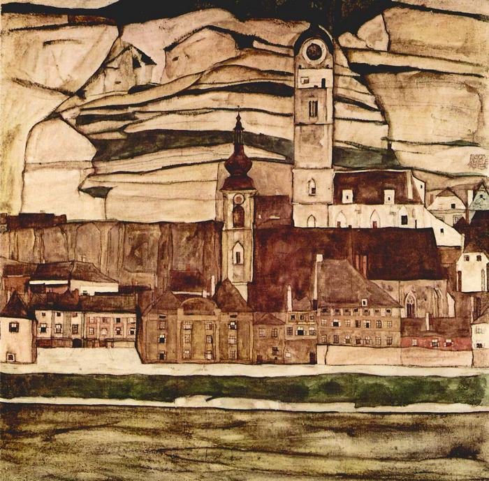 Templom a Dunánál, Egon Schiele