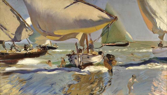 Halászhajók a parton (1909), Joaquin Sorolla