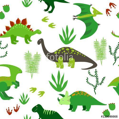 Aranyos dinoszauruszok zökkenőmentes mintázata. Vektoros háttér , Premium Kollekció