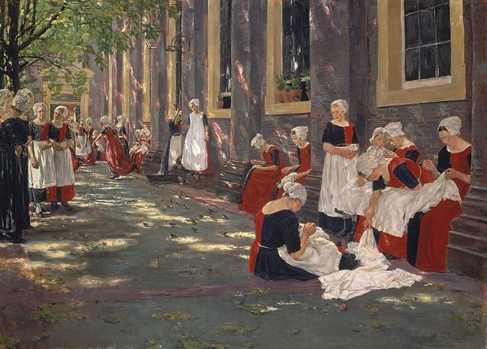 Szabadidő egy amszterdami árvaházban (1881), Max Liebermann