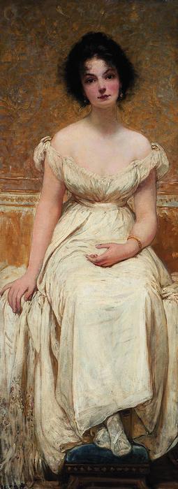 Kornélia fehér ruhában (1901), Lotz Károly