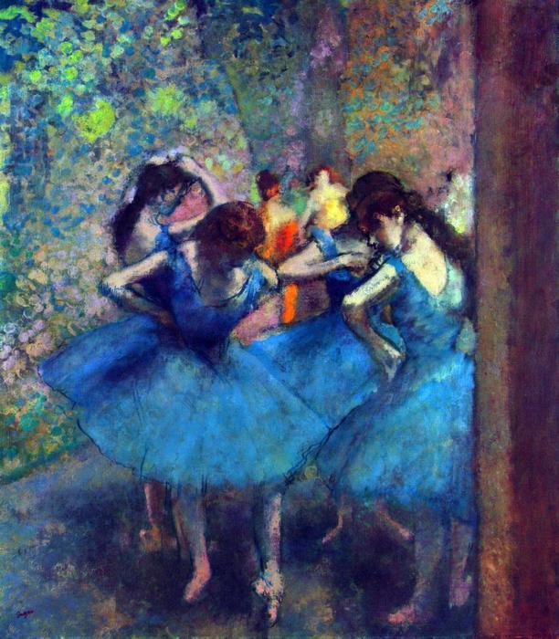 Balett- táncosnők kék ruhában, Edgar Degas