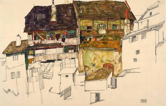 Régi házak Krumau-ban, Egon Schiele