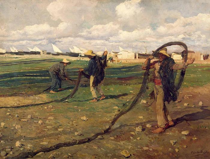A halászok összehajtják a hálót (1896), Joaquin Sorolla