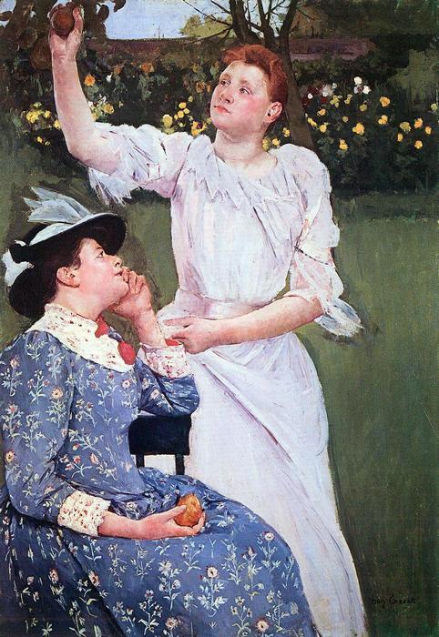 Gyümölcsöt szüretelő lány, Mary Cassatt