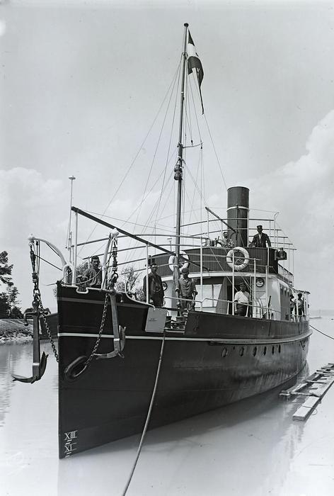 Siófok kikötő, a Jókai utasszállító csavaros gőzhajó próbaútján (1913), FORTEPAN