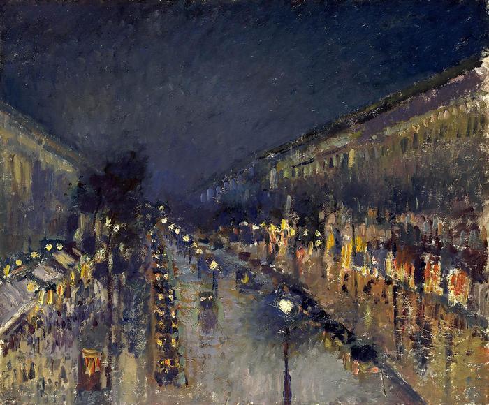A Montmartre sugárút este, Camille Pissarro