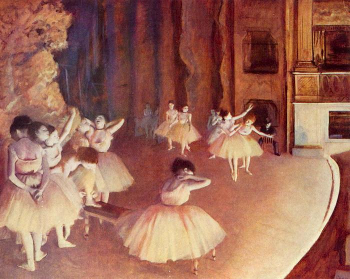 Balett főpróba a színpadon, Edgar Degas