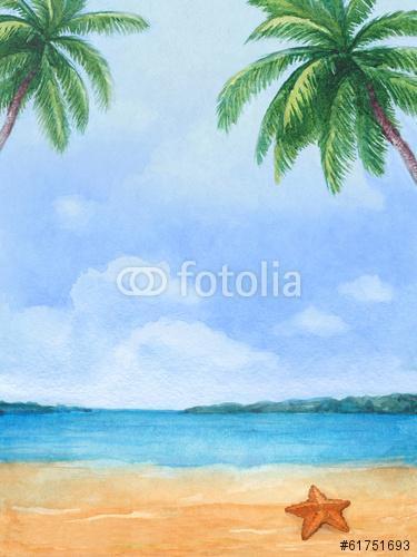 A trópusi tengerpart akvarellje, Premium Kollekció