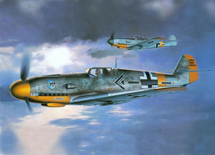 Messerschmitt vadászgépek a felhők közt,