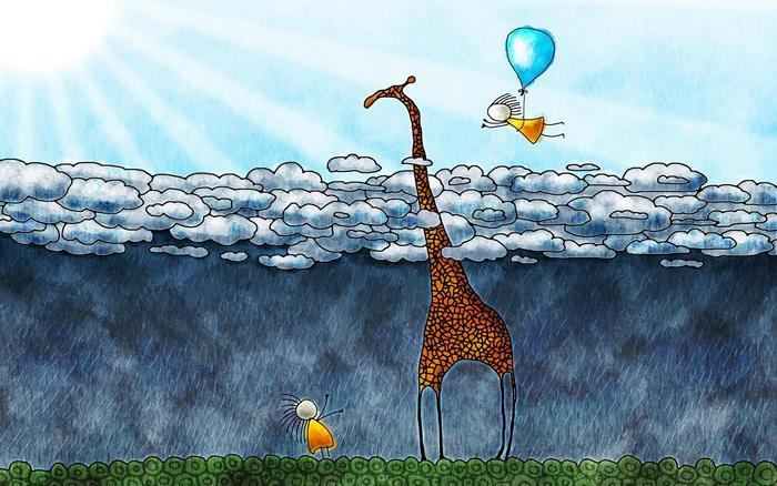Zsiráf az esőfelhők felett,