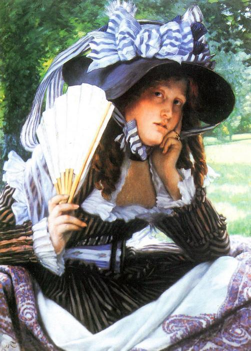 Fiatal nő legyezővel, James Tissot