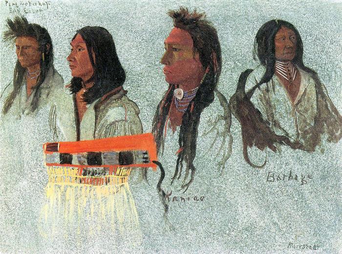 Négy indián, Albert Bierstadt