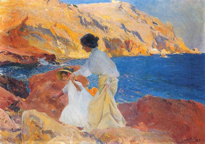 Klotild és Elena a sziklákon, Joaquin Sorolla