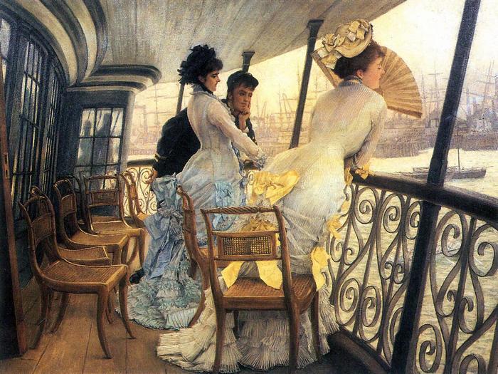 A H.M.S. Calcutta hajó teraszán, James Tissot