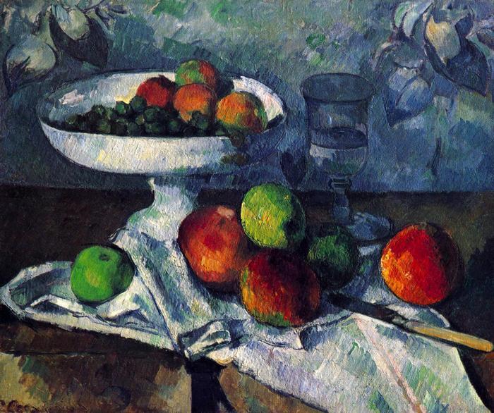 Csendélet gyümölcstállal, Paul Cézanne