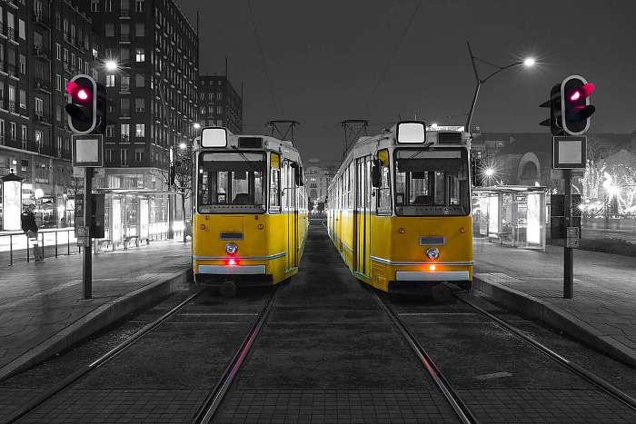 Ganz CSMG villamosok Budapesten, a Deák Ferenc téren, Premium Kollekció