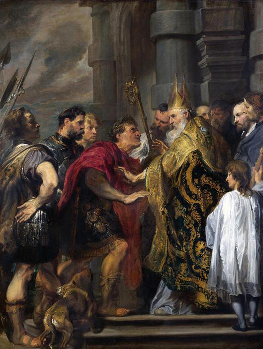 (Szent) Ambrus püspök kitiltja  I. Theodosius császárt a templomból, Anthony van Dyck
