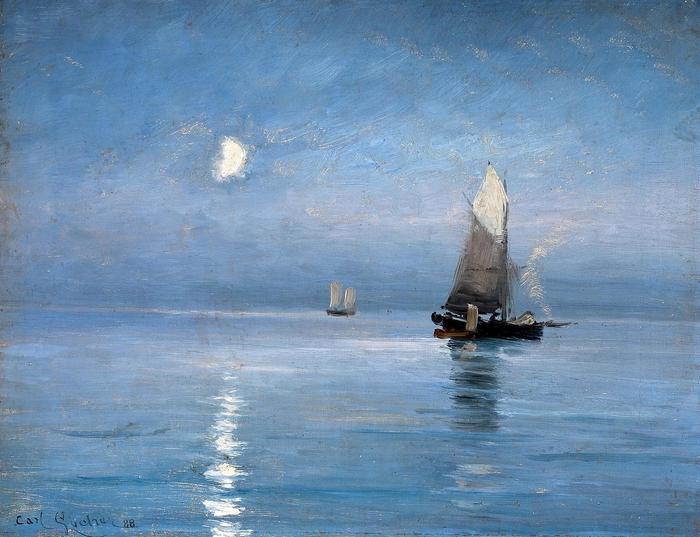 Halászhajók holdfényes este - színverzió 1., Carl Locher