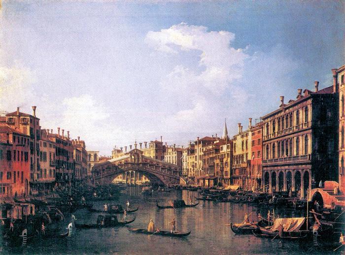 A Rialto híd, délről nézve, Canaletto