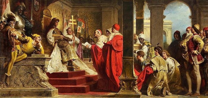 Mátyás fogadja a pápa követeit, Benczúr Gyula