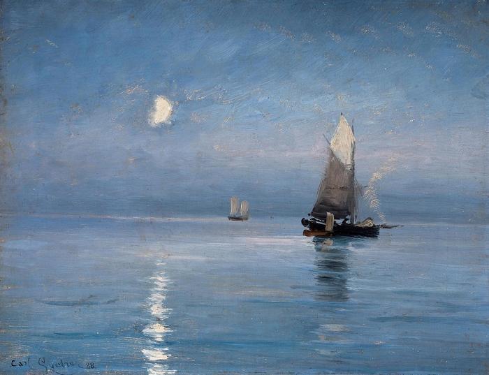 Halászhajók holdfényes este, Carl Locher