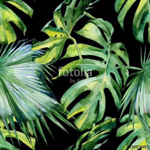 A trópusi levelek zökkenőmentes akvarellje, sűrű jungl, Premium Kollekció