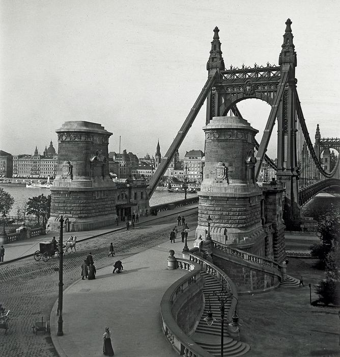 Erzsébet híd budai hídfő (1912), FORTEPAN