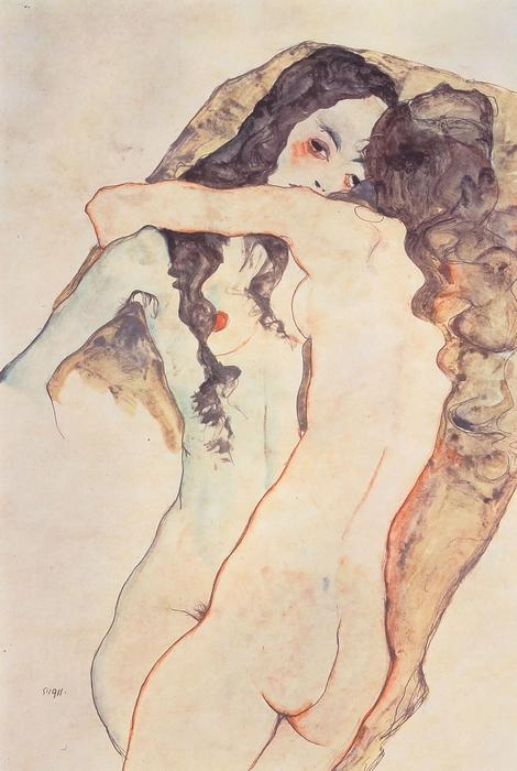 Ölelkező női pár, Egon Schiele