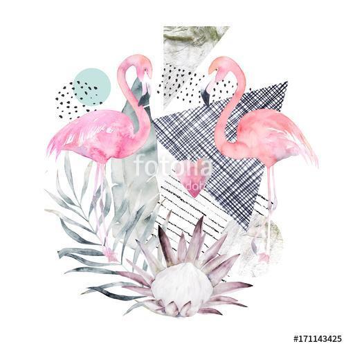 Absztrakt geometriai plakát flamingóval és proteával. Nyári trom, Premium Kollekció