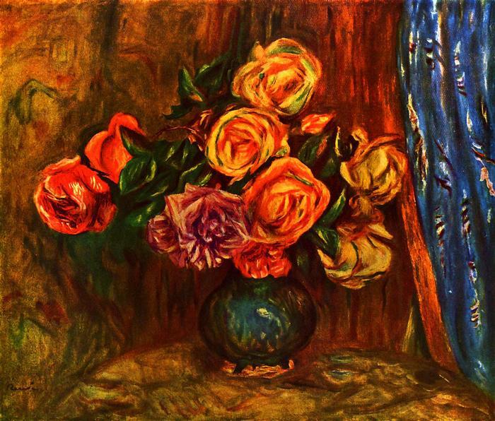 Csendélet rózsákkal, kék függöny előtt, Pierre Auguste Renoir