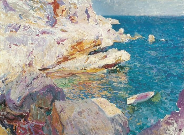Javea sziklái fehér csónakkal (1905), Joaquin Sorolla