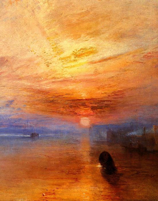 A Téméraire hadihajó utolsó útja a Temzén napnyugatakor, részlet, William Turner