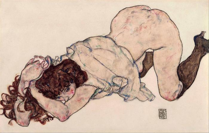 Könyöklő, térdelő hölgy, Egon Schiele