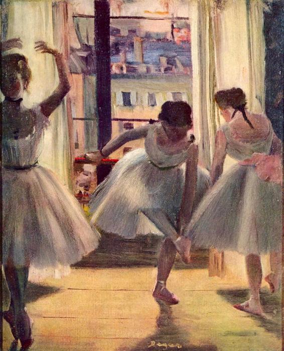 Balett-táncosnők a gyakorlóteremben, Edgar Degas