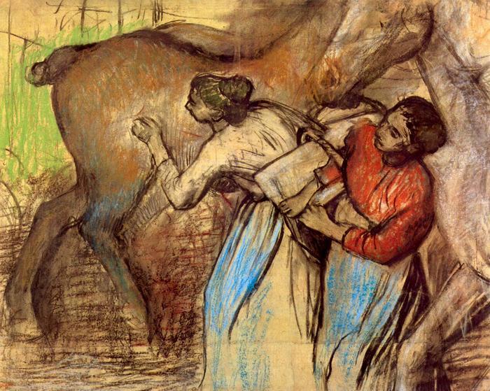 Két nő lócsutakolás közben, Edgar Degas