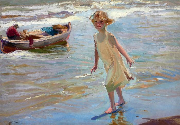 Kislány a valenciai tengerparton (1910), Joaquin Sorolla