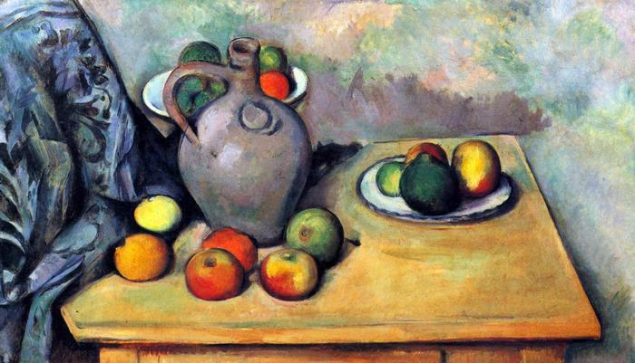 Csendélet korsóval és gyümölcsökkel az asztalon, Paul Cézanne