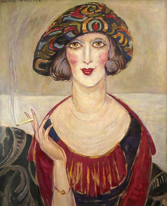 Cigarettázó nő portréja, Gerda Wegener