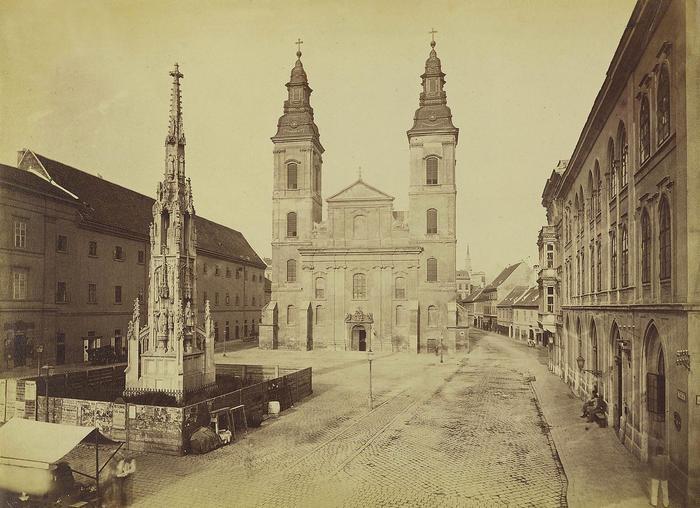 Március 15 (Eskü) tér, Belvárosi Nagyboldogasszony Főplébánia (1880-1890 között), FORTEPAN