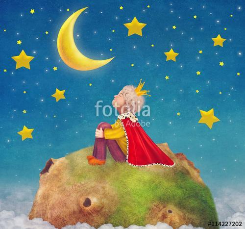 A kis herceg egy bolygón gyönyörű éjszakai égen, illustra, Premium Kollekció