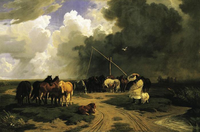Ménes a zivatarban (1862) - színverzió 1., Lotz Károly