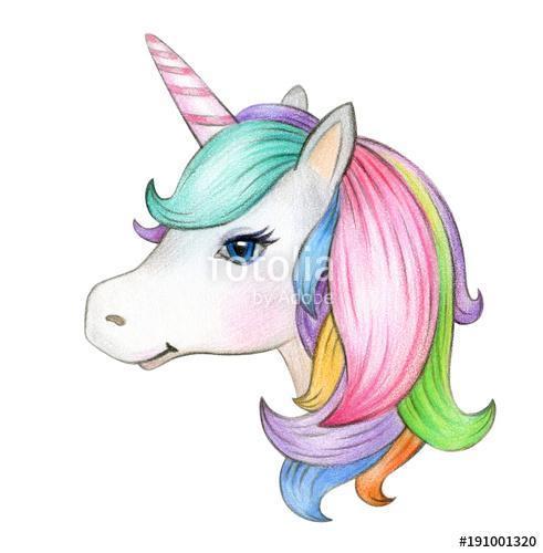 Cute, magic unicorn portrait, isolated on white., Premium Kollekció