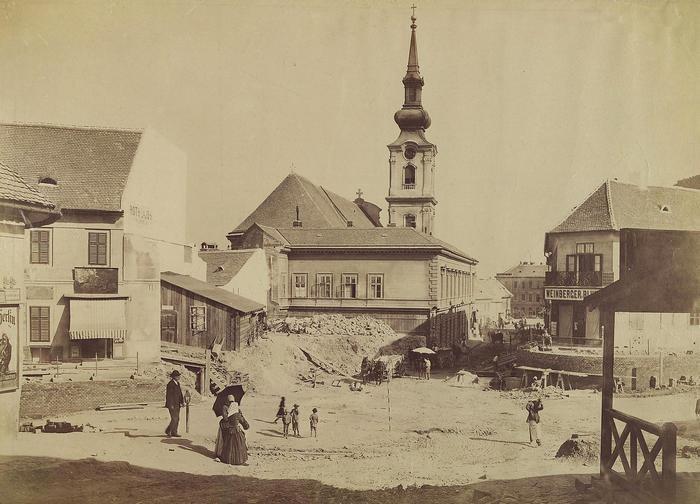 Tabán, Szarvas tér a Döbrentei tér felé nézve (1894), FORTEPAN