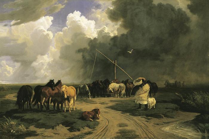 Ménes a zivatarban (1862), Lotz Károly