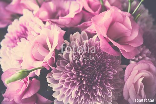 Bouquet of pink flowers closeup, eustoma and chrysanthemum, Premium Kollekció