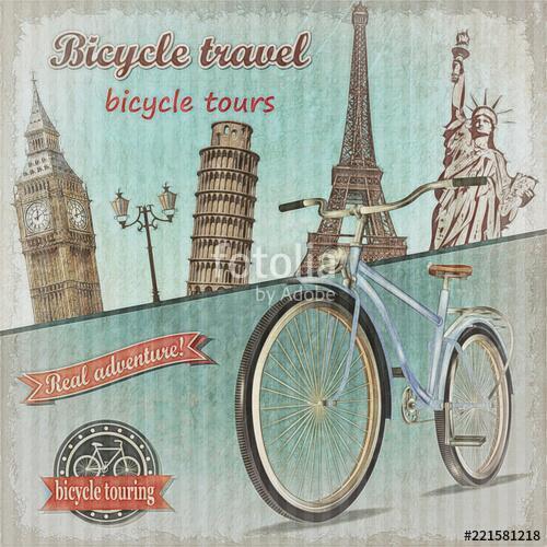Bicycle tour poster., Premium Kollekció